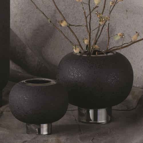 Silver Banded Sphere Vase-Black-Lg