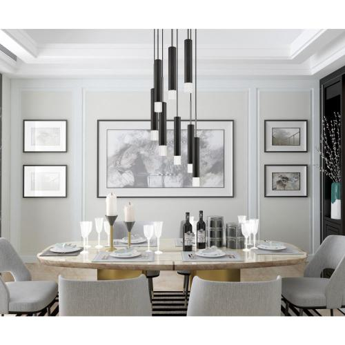 Cal Lighting & Accessories - Troy integrated LED Dimmable Hexagon Aluminum Casted 8 Lights Pendant With Glass Diffuser