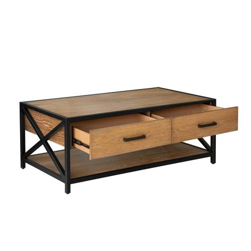 Accentrics Home - Light Brown Metal Framed Two Drawer Cocktail Table