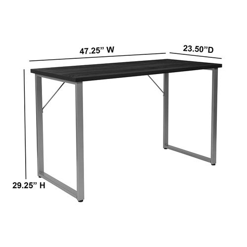 Flash Furniture - Harvey Black Finish Computer Desk with Silver Metal Frame