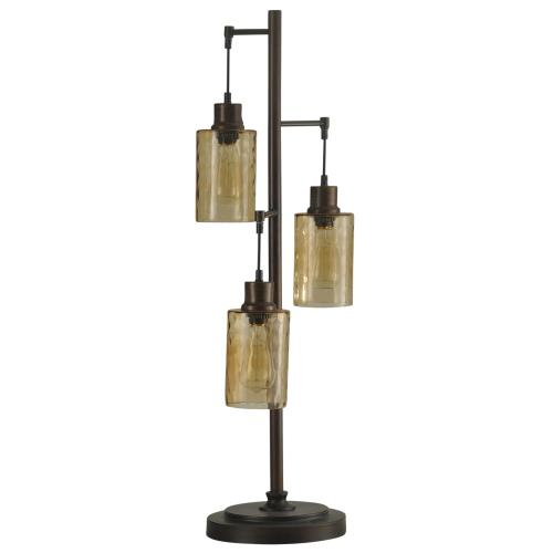 Bronze with Champagne Pendant Dimpled Glass Shade Table Lamp with 3 40-Watt Edison Bulbs Included