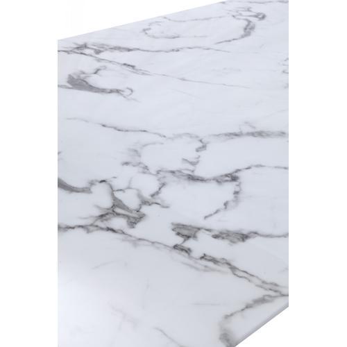 Modrest Garrett Modern White Faux Marble & Stainless Steel Dining Table