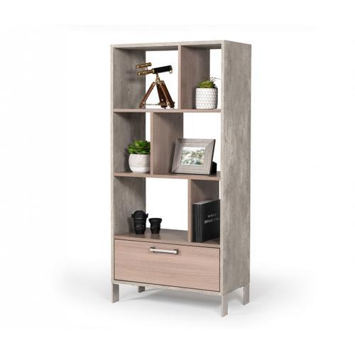 Nova Domus Boston Modern Brown Oak & Faux Concrete Bookcase