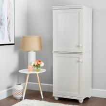 2-Door Narrow Storage Cabinet - White Wash