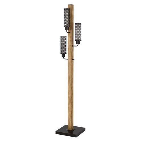 Cal Lighting & Accessories - 60W x 3 Lenox lantern style rubber wood / metal floor lamp with mesh metal shades