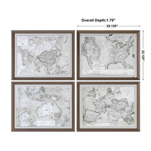 Uttermost - World Maps Framed Prints, S/4