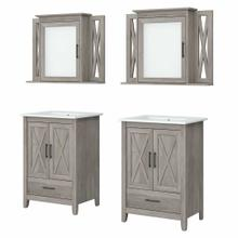 See Details - 48W Double Vanity Set with Sinks and Medicine Cabinets, Driftwood Gray