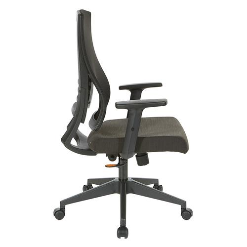 Office Star - Black Breathable Mesh Back Chair With Pu Padded Arms