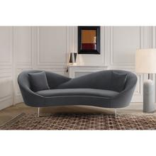 View Product - Anabella Gray Fabric Upholstered Sofa with Silver Legs