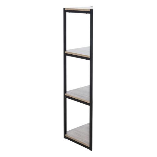 Logan 4 Tier Corner Bookshelf - Light Grey / Black