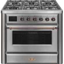 Majestic II 36 Inch Dual Fuel Liquid Propane Freestanding Range in Stainless Steel with Bronze Trim