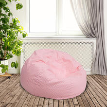 Product Image - Small Light Pink Dot Bean Bag Chair for Kids and Teens