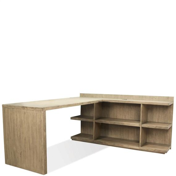 Riverside - Perspectives - Peninsula Bookcase - Sun-drenched Acacia Finish