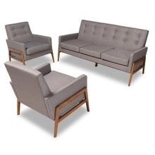 See Details - Baxton Studio Perris Mid-Century Modern Light Grey Fabric Upholstered Walnut Finished Wood 3-Piece Living Room Set