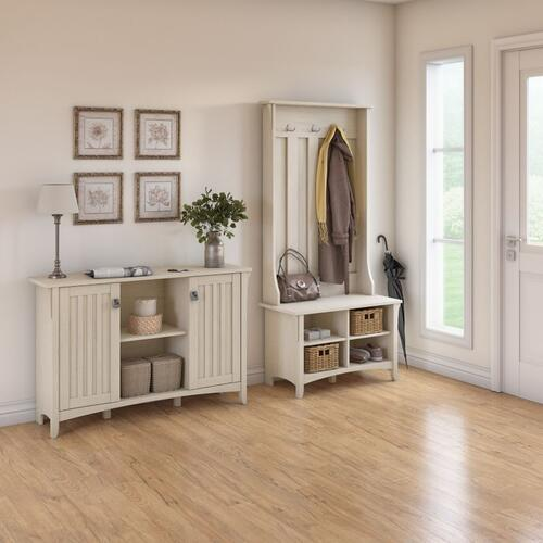 Salinas Entryway Storage Set with Hall Tree, Shoe Bench and Accent Cabinet - Antique White