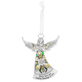 Angel Ornament - Peace love and holiday blessings to you