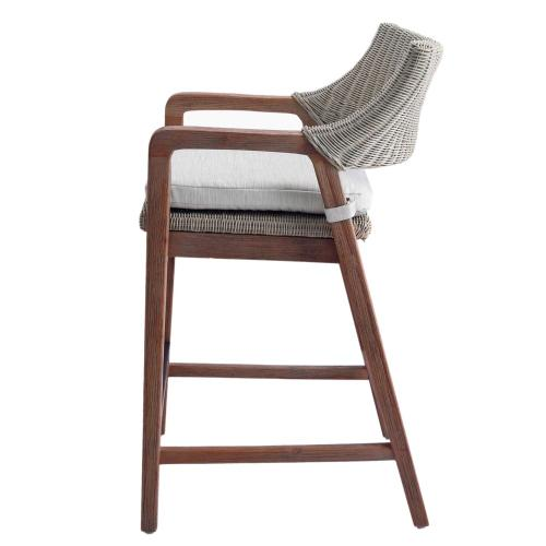 Shiloh Rattan Counter Stool w/ Arms, Greige Gray