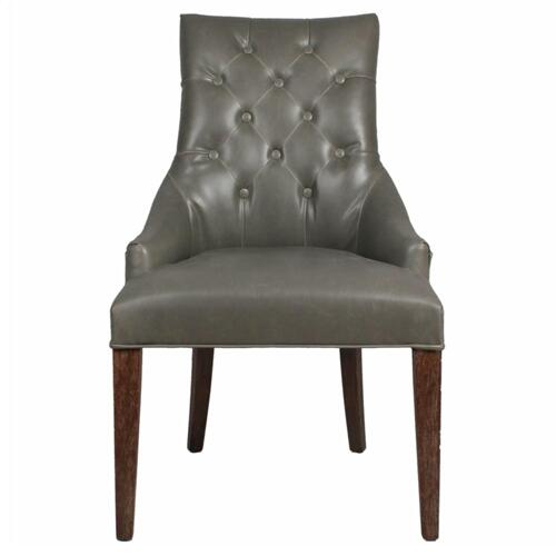 Celestia Bonded Leather Tufted Chair Drift Wood Legs, Vintage Gray