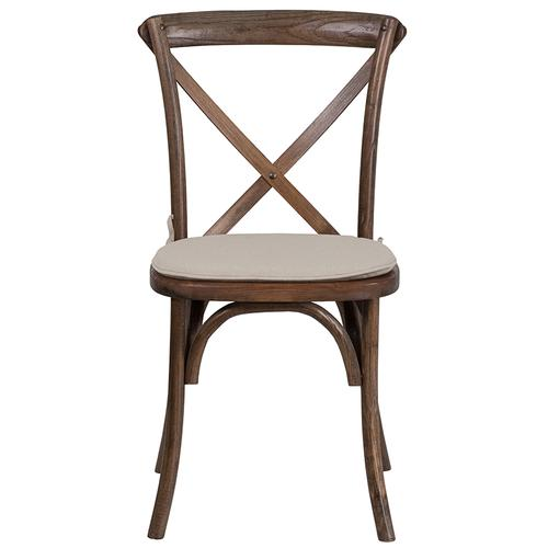 Stackable Early American Wood Cross Back Chair with Cushion