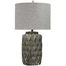 ALTON TABLE LAMP  Gray Finish on Ceramic Body  Hardback Shade  150 Watt