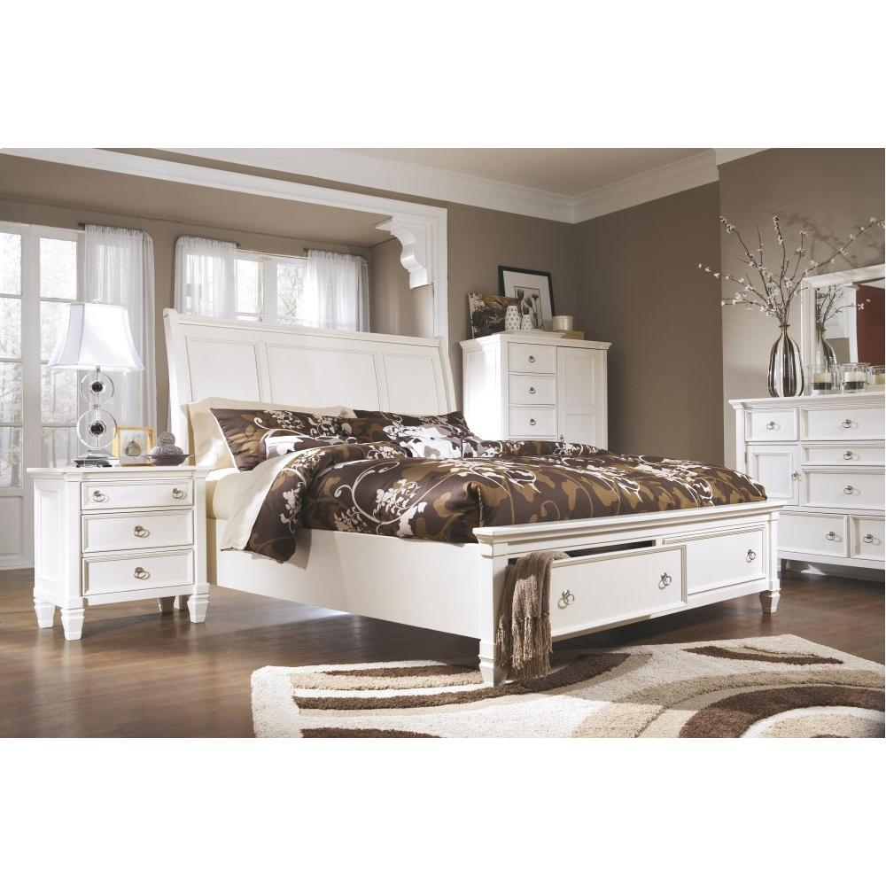 Prentice California King Sleigh Bed With 2 Storage Drawers