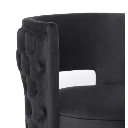 Mimosa Black Velvet Swivel Chair