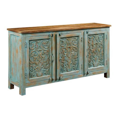 Gallery - VINTAGE BLUE THREE DOOR CABINET