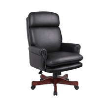 Traditional Black Leather Chair with Mahogany Base