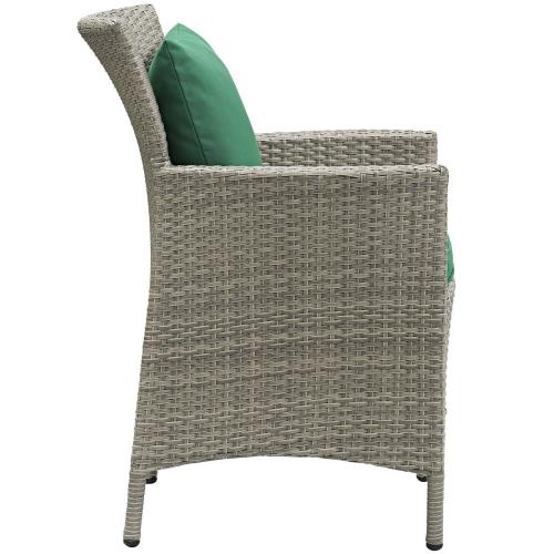 Conduit 5 Piece Outdoor Patio Wicker Rattan Dining Set in Light Gray Green