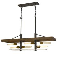 Craiova 60W X 6 Pine Wood Island Chandelier With Hand Crafted Glass (Edison Bulbs Not included)