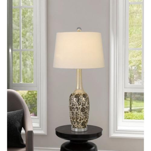 150W Paxton Ceramic Table Lamp With Leaf Design And Taper Drum Hardback Fabric Shade (Priced And Sold As Pairs)