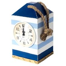 Penfield Blue/White Stripe Nautical Wooden Table Clock
