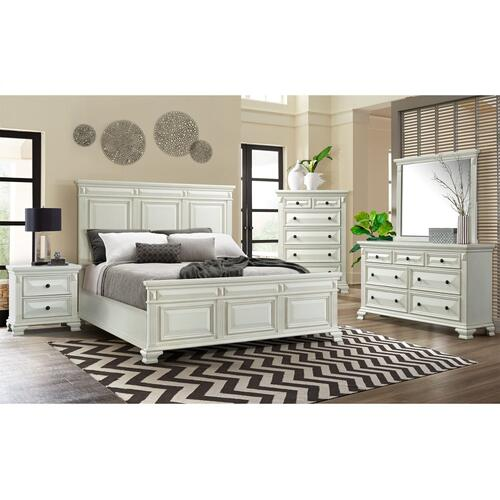 Calloway White 5 PC Bedroom Group   Queen Bed, Dresser, Mirror, Chest, N. Stand   (CY-700)