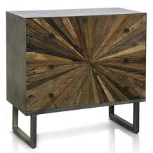 KAYDEN CHEST  32in w. X 31in ht. X 15in d.  Solid Reclained Wood Cut and Joined to Resemble Rays f