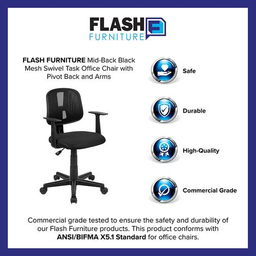 Flash Furniture - Flash Fundamentals Mid-Back Black Mesh Swivel Task Office Chair with Pivot Back and Arms, BIFMA Certified