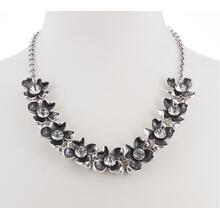 BTQ Burnished Silver Flower Necklace with Rhinestone Center