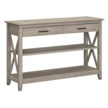 Key West Console Table with Drawers and Shelves - Washed Gray