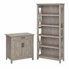 View Product - Secretary Desk with Storage and 5 Shelf Bookcase, Washed Gray