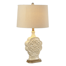 Ivory Embossed Medallion Table Lamp. 100W Max. 3 Way Switch
