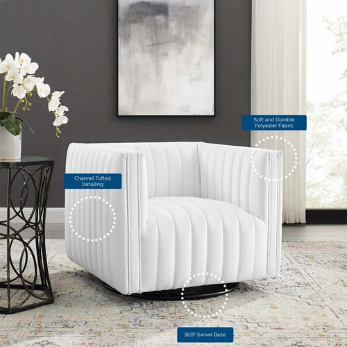 Conjure Tufted Swivel Upholstered Armchair in White