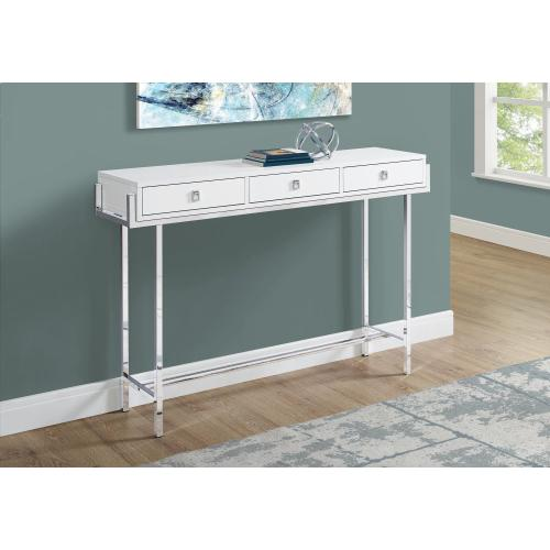 """Gallery - ACCENT TABLE - 48""""L / GLOSSY WHITE / CHROME METAL"""