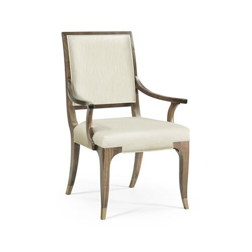 Hamilton Golden Amber Dining Armchair, Upholstered in Castaway