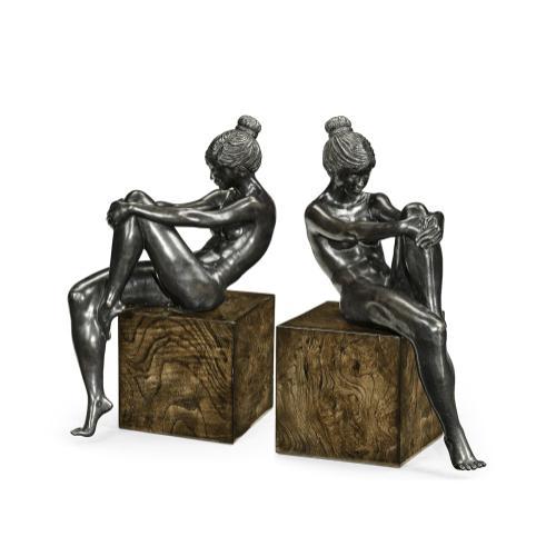 Set of Antique Dark Bronze Nude Girl Bookends