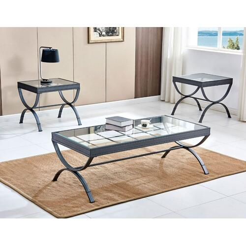 Emerson 3-Pack Set, Silver (Pack Includes Cocktail & 2 End Tables)
