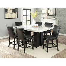 View Product - Camila 7 Piece Rectangular White Marble Top Counter Set(Counter Table & 6 Counter Chairs)