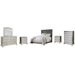 California King Upholstered Bed With Mirrored Dresser, Chest and 2 Nightstands