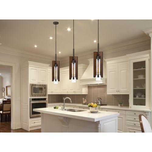 60W Almeria Wood/Glass Pendant Fixture (Edison Bulb Not included)