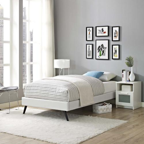 Modway - Loryn Twin Vinyl Bed Frame with Round Splayed Legs in White