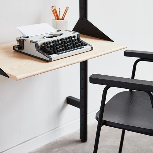 Branch-3 Shelving Unit with Desk Black Uprights Black Brackets Blonde Shelves