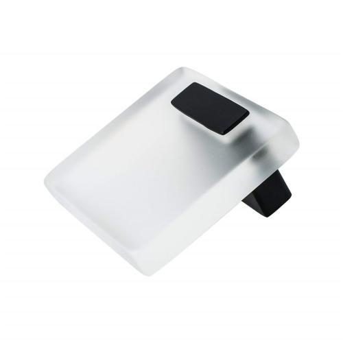 Quad 16mm White Acrylic and Matte Black Knob